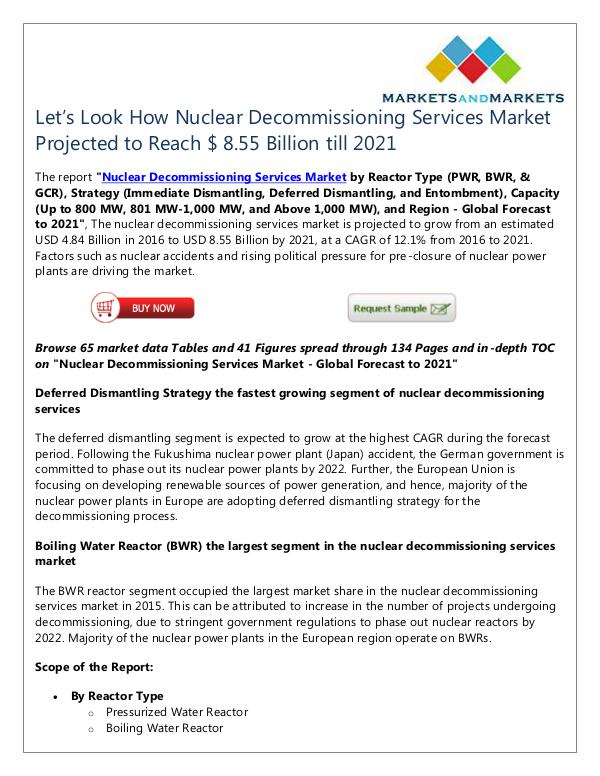 Energy and Power Nuclear Decommissioning Services Market