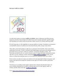 Traffic to Website