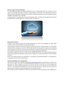 Le cloud gratuit, fiable et disponible