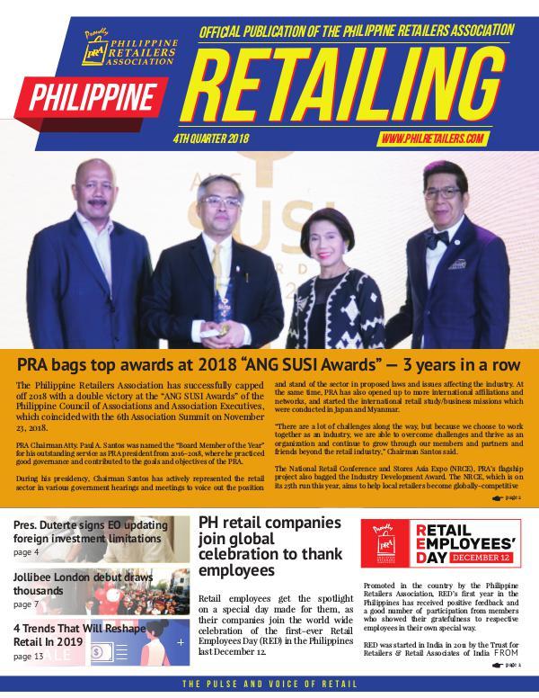 Philippine Retailing Newsletters 2018 PRA eNewsletter 2018 Q4