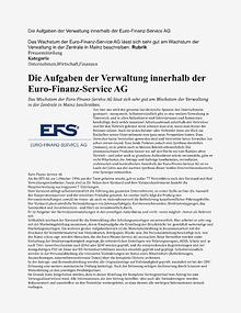 Die Aufgaben der Verwaltung innerhalb der Euro-Finanz-Service AG